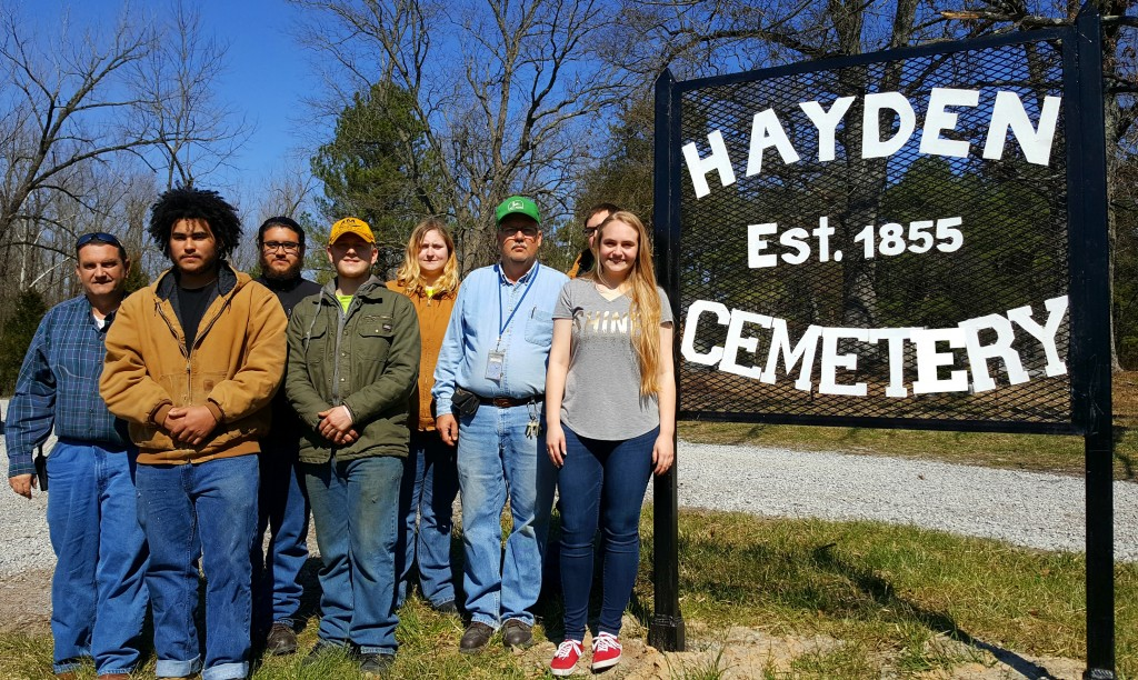 Picture from L to R: Scottie Brooks CDL Instructor, Jan Montalvo student, Francisco Nunez student, Alexander Huddleston student, Brenden Doll student, Charles Wiseman Foundation Instructor, Dustin Jones student, Kassidy Cobb Head of the Cemetery Preservation Projects